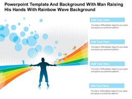 Powerpoint Template And Background With Man Raising His Hands With Rainbow Wave Background