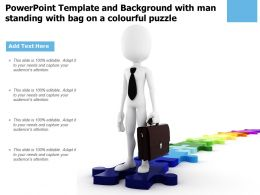 Powerpoint Template And Background With Man Standing With Bag On A Colourful Puzzle