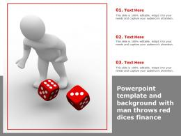 Powerpoint Template And Background With Man Throws Red Dices Finance