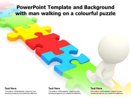 Powerpoint Template And Background With Man Walking On A Colourful Puzzle