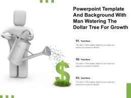 Powerpoint Template And Background With Man Watering The Dollar Tree For Growth