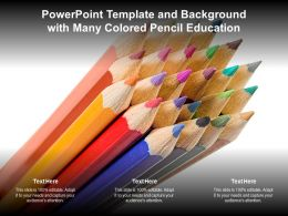 PowerPoint Template and Background with Many Colored Pencil Education