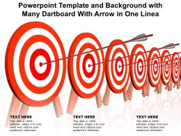 Powerpoint Template And Background With Many Dartboard With Arrow In One Linea