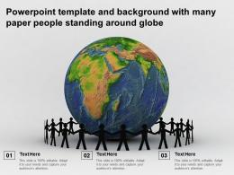 Powerpoint Template And Background With Many Paper People Standing Around Globe