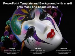 Powerpoint Template And Background With Mardi Gras Mask And Beads Closeup