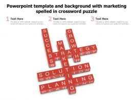 Powerpoint Template And Background With Marketing Spelled In Crossword Puzzle