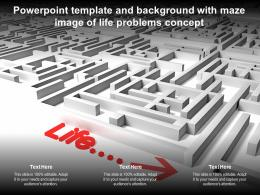 Powerpoint Template And Background With Maze Image Of Life Problems Concept