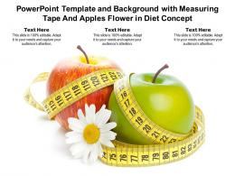 Powerpoint Template And Background With Measuring Tape And Apples Flower In Diet Concept