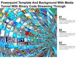 Powerpoint Template And Background With Media Tunnel With Binary Code Streaming Through