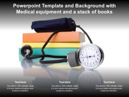 Powerpoint Template And Background With Medical Equipment And A Stack Of Books