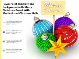 Merry Christmas Board With Multicolored Christmas Balls Stock Photo