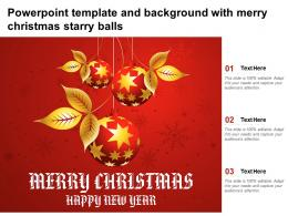 Powerpoint Template And Background With Merry Christmas Starry Balls