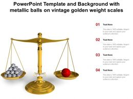 Powerpoint Template And Background With Metallic Balls On Vintage Golden Weight Scales