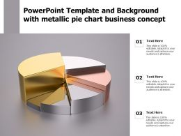 Powerpoint Template And Background With Metallic Pie Chart Business Concept