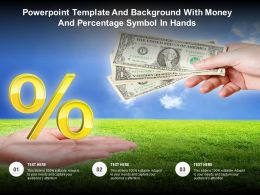 Powerpoint Template And Background With Money And Percentage Symbol In Hands