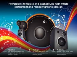 Powerpoint Template And Background With Music Instrument And Rainbow Graphic Design