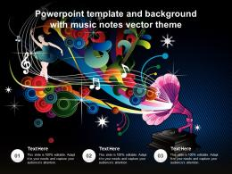 Powerpoint Template And Background With Music Notes Vector Theme