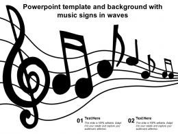 Powerpoint Template And Background With Music Signs In Waves