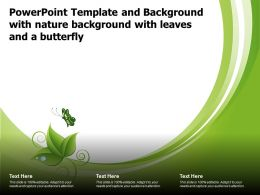Powerpoint Template And Background With Nature Background With Leaves And A Butterfly