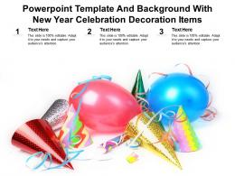 Powerpoint Template And Background With New Year Celebration Decoration Items