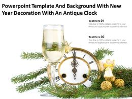 Powerpoint Template And Background With New Year Decoration With An Antique Clock