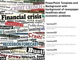 Powerpoint Template And Background With Of Newspaper Headlines About Economic Problems