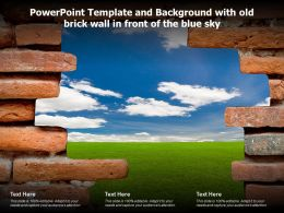 Powerpoint Template And Background With Old Brick Wall In Front Of The Blue Sky