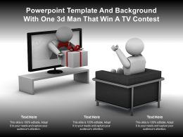 Powerpoint Template And Background With One 3d Man That Win A Tv Contest