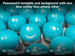 Powerpoint Template And Background With One Blue Smiley Face Among Other