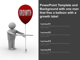 Powerpoint Template And Background With One Man That Free A Balloon With A Growth Label