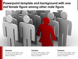 Powerpoint Template And Background With One Red Female Figure Among Other Male Figure
