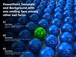 Powerpoint Template And Background With One Smiling Face Among Other Sad Faces