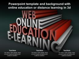 Powerpoint Template And Background With Online Education Or Distance Learning In 3d