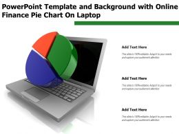 Powerpoint Template And Background With Online Finance Pie Chart On Laptop