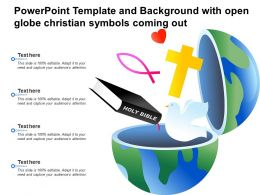 Powerpoint Template And Background With Open Globe Christian Symbols Coming Out