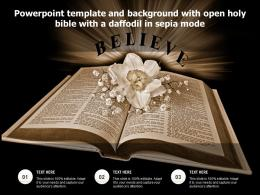 Powerpoint Template And Background With Open Holy Bible With A Daffodil In Sepia Mode