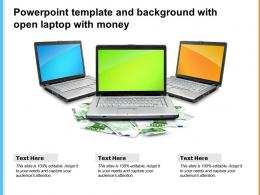 Powerpoint Template And Background With Open Laptop With Money