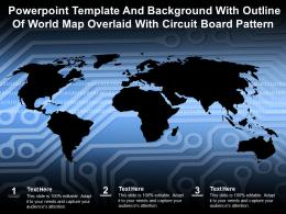 Powerpoint Template And Background With Outline Of World Map Overlaid With Circuit Board Pattern