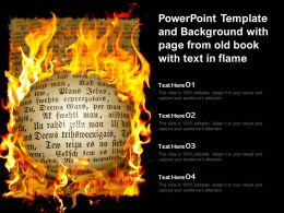 Powerpoint Template And Background With Page From Old Book With Text In Flame