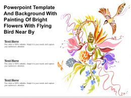 Powerpoint Template And Background With Painting Of Bright Flowers With Flying Bird Near By