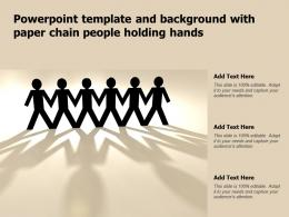 Powerpoint Template And Background With Paper Chain People Holding Hands