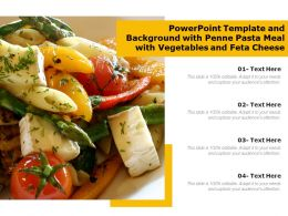 Powerpoint Template And Background With Penne Pasta Meal With Vegetables And Feta Cheese