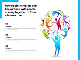 Powerpoint Template And Background With People Coming Together To Form A Human Tree