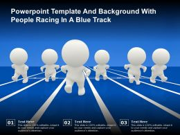 Powerpoint Template And Background With People Racing In A Blue Track