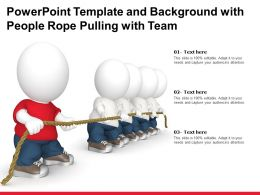 Powerpoint Template And Background With People Rope Pulling With Team