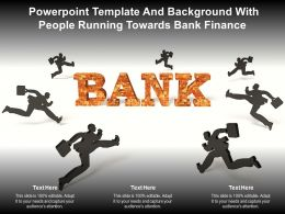 Powerpoint Template And Background With People Running Towards Bank Finance