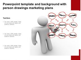 Powerpoint Template And Background With Person Drawings Marketing Plans