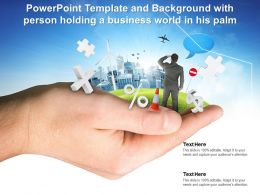 Powerpoint Template And Background With Person Holding A Business World In His Palm