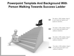 Powerpoint Template And Background With Person Walking Towards Success Ladder
