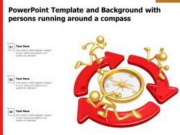 Powerpoint Template And Background With Persons Running Around A Compass